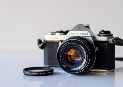 Pentax Me film camera with 50mm 1.7 SMC lens
