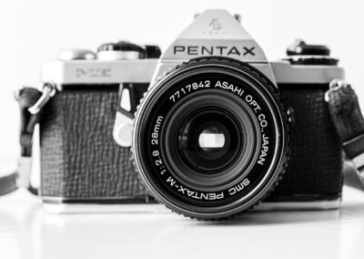 Pentax Me with 28mm 2.8 lens.