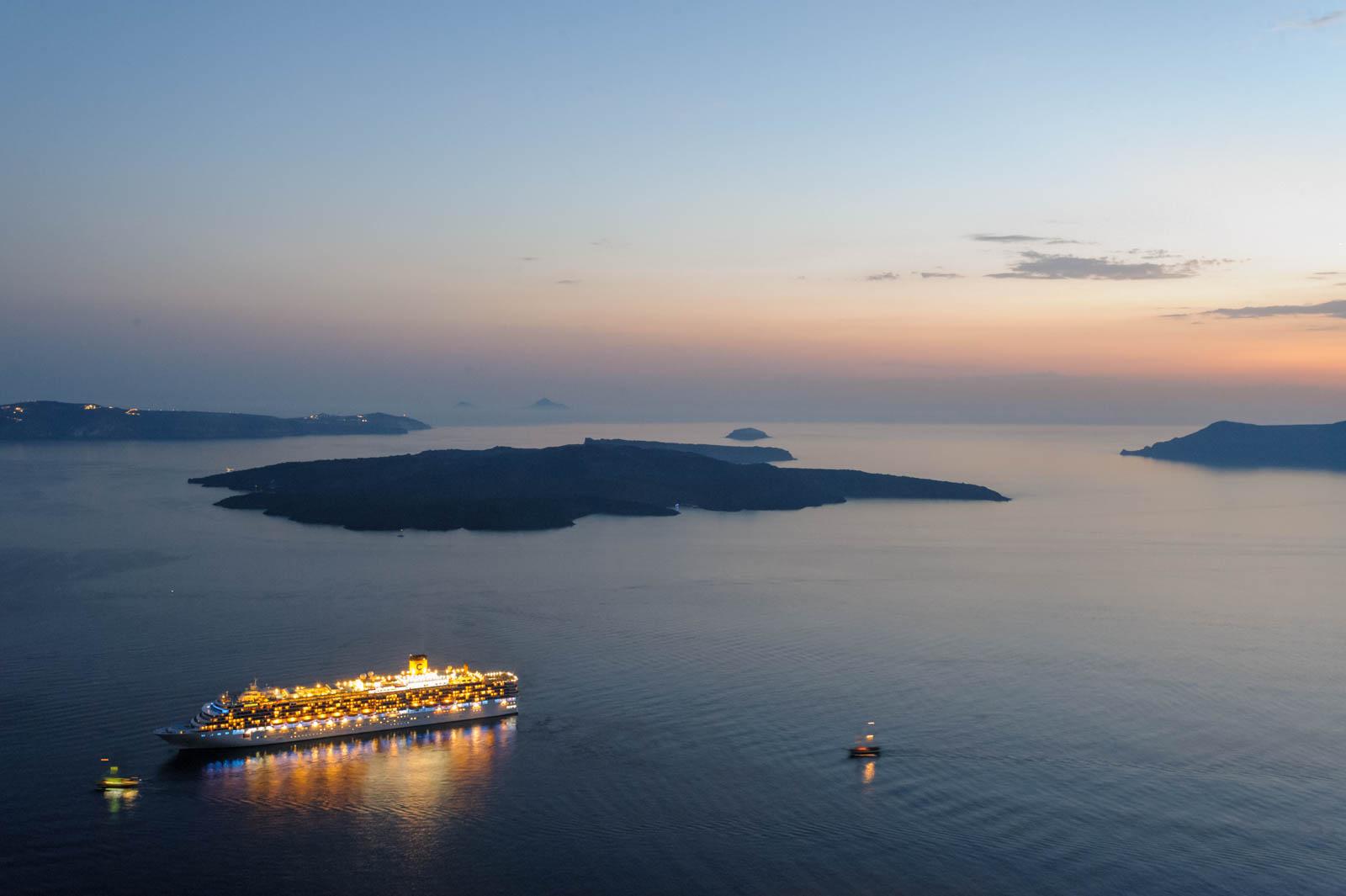 Cruise liner Costa Deliziosa and Nea Kameni