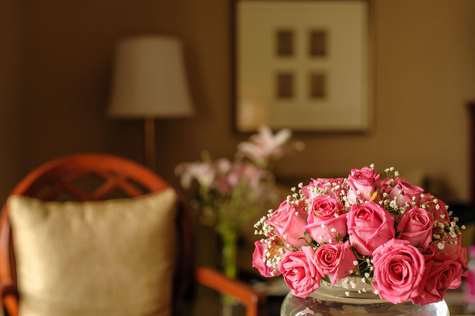 Flowers in room.