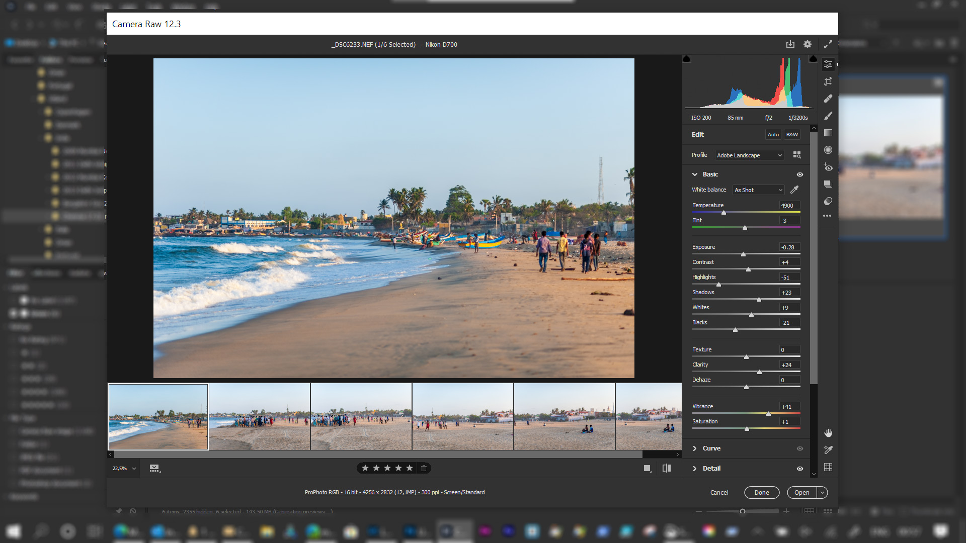 Step 1: Open images in Adobe Camera Raw for adjustments and sync settings to all images.