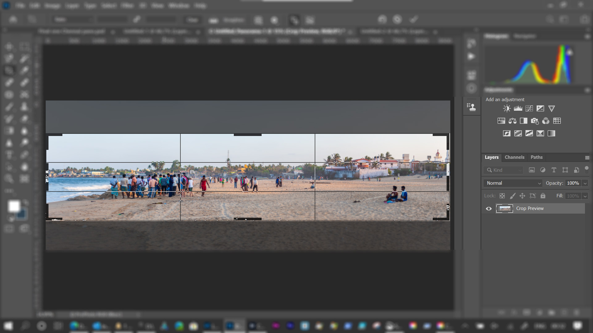 Step 5: Using crop tool to remove parts of sky and beach.