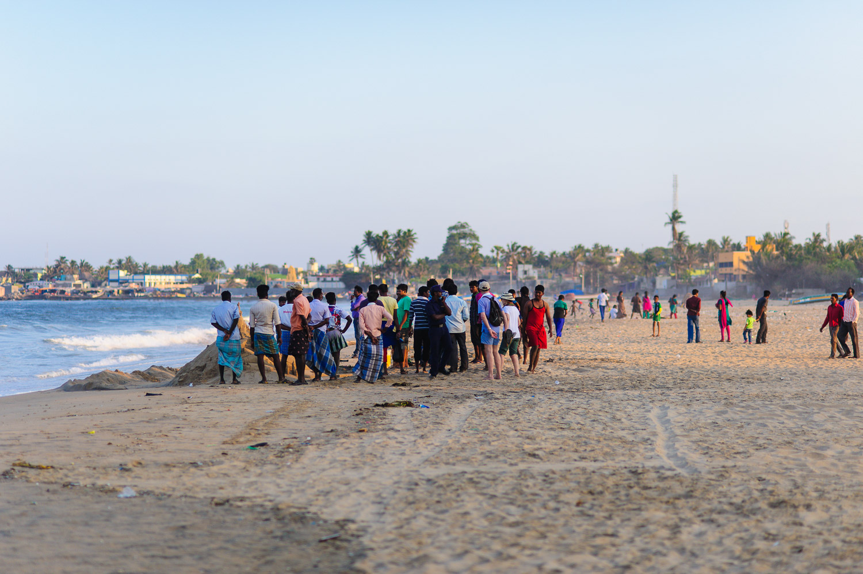 People on Kovalam Beach, Tamil Nadu. March 2015.