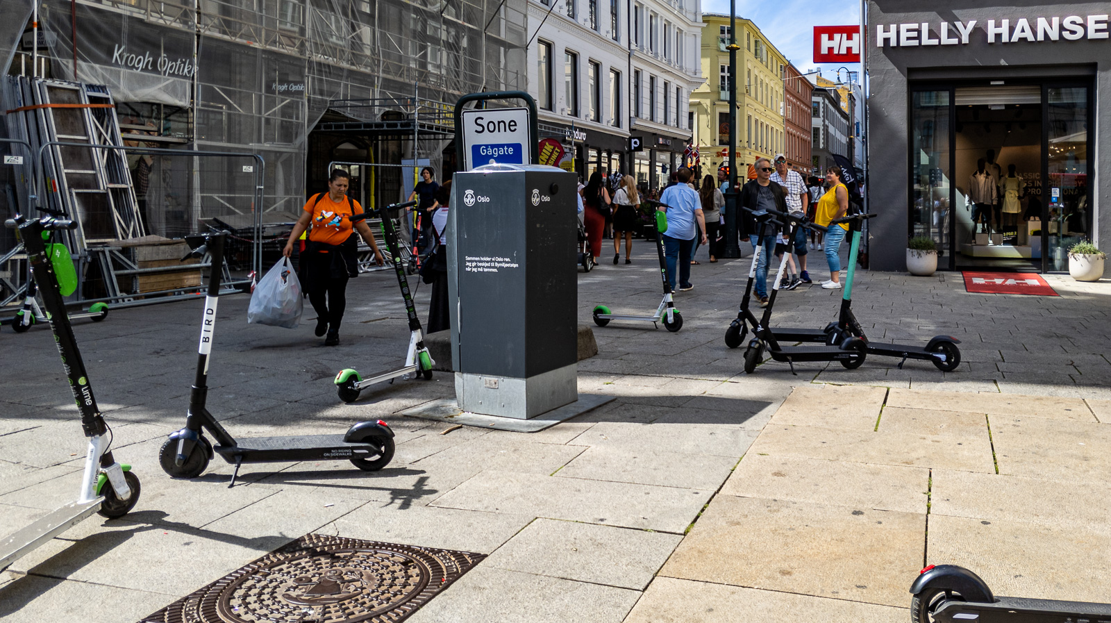 E-scooters parked at Karl Johans Gate, Oslo