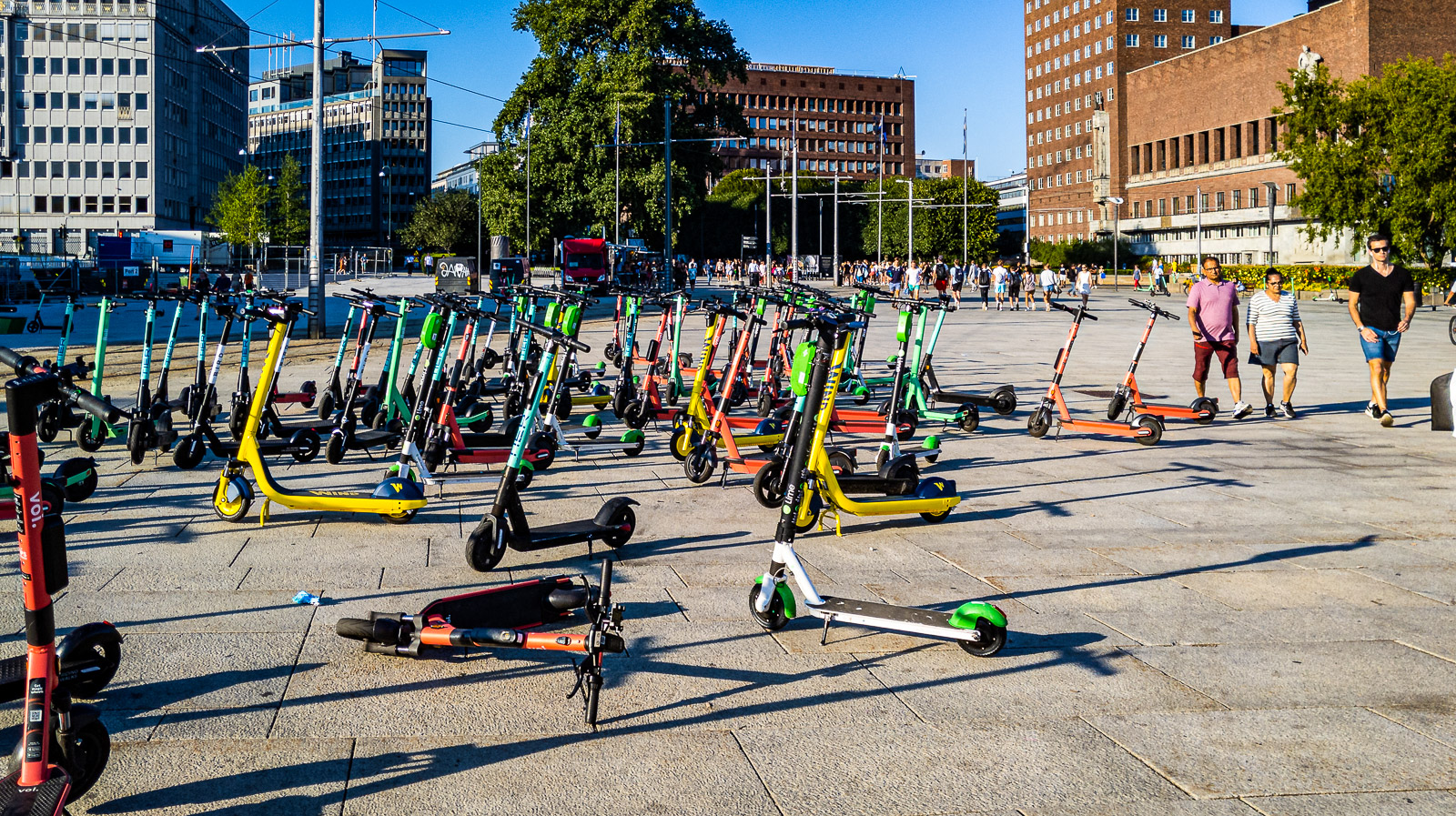 E-scooters at the entrance to Aker Brygge in Oslo, Norway.