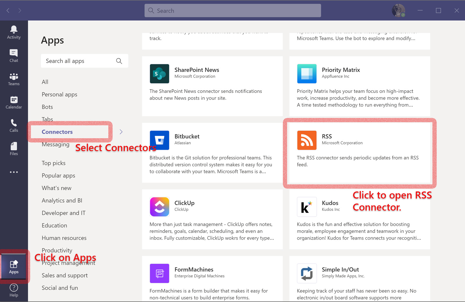 Microsoft Teams Apps section