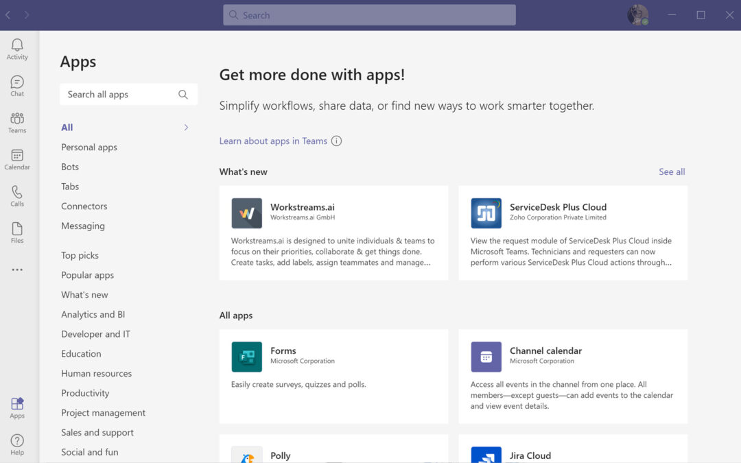 Using Apps in Microsoft Teams